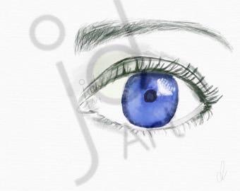Blue eye - blue eye - illustration Apple Pencil - [instant download]