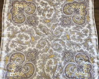 Vintage Lavender and Yellow Paisley Scarf