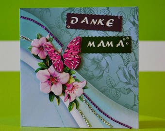 Greeting card - mother's day - thank you MOM - handmade one of a kind