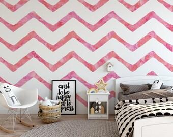 Giant Pink Watercolor Chevron Self-Adhesive Wallpaper