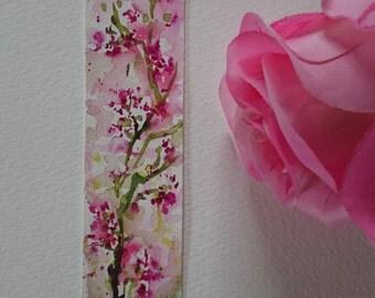 Bookmark in watercolor, pink flowers, original painting, original watercolor of flowers