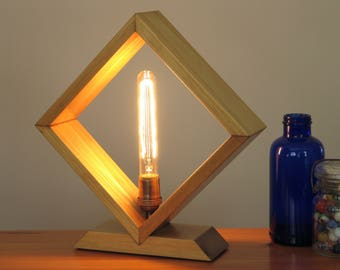 Shadow Box Lamp – Table Lamp – Desk Lamp – Accent Lamp – Wood Edison Lamp – Wood Lamp – Edison Table Lamp – Rustic Lamp – Pine – Handcrafted