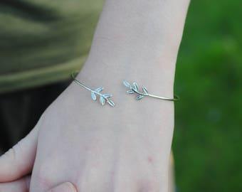 Silver Cuff Bracelet With Leaf Detail
