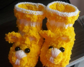 wool Baby Slippers mouse yellow