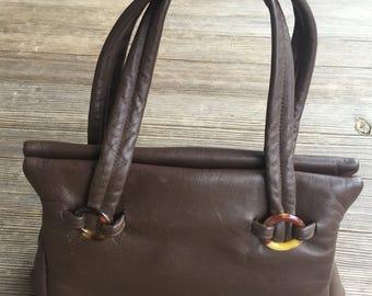 VIntage, 1960, Jane Shilton England, brown leather handbag, brown