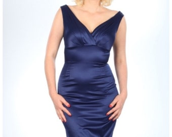 Cobalt Blue Satin 1950s Wiggle Dress *NEW WITH TAGS*