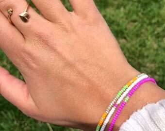Snow White Seed Bead Bracelet