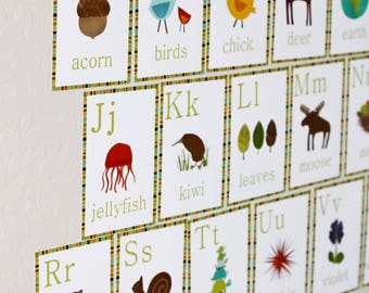 Kids Educational Flash Cards, Nursery Alphabet Flash Cards, Nursery Wall Art Flash Cards, Alphabet Wall Flash Cards, Children's Flash Cards