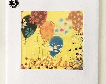 Balloons and glitter shaker Birthday card