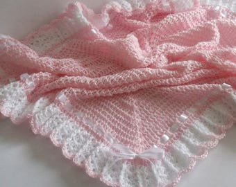 Baby Blanket Pink White Christening Baptism Baby Girl Granny Square Border Crochet Afghan Baby Shower Gift Newborn Photo Prop New Baby