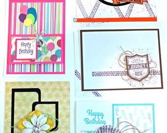Handmade BIRTHDAY GREETING CARDS Set of 5 New Stampin' Up