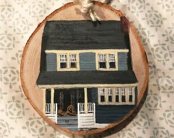 House Painting on Wood Slice