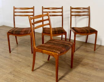 SOLD x4 mid century vintage danish style dining chairs