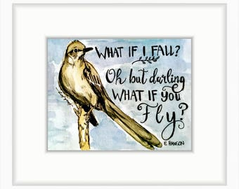 4x6 mockingbird print; watercolor encouragement fearless brave good luck quote print | 4x6 in. print (10.1 x 15.24 cm)