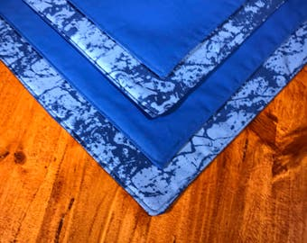 Blue Reversible Placemats, Set of Four