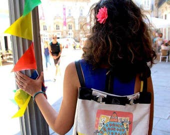 2 in 1 bag, backpack convertible handbag, illustrated by a Senegalese artist, leather and fabric