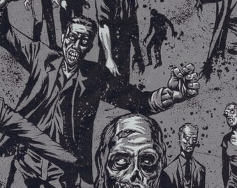 Alexander Henry Gothic Zombie Dead on Grey 100% Cotton Fabric - FQ