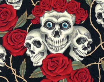 Alexander Henry Gothic Rose Tattoo White Skulls & Red Roses on Black 100% Cotton Fabric - FQ