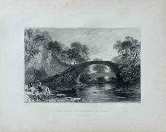 1883 Antique Print, Roman Bridge