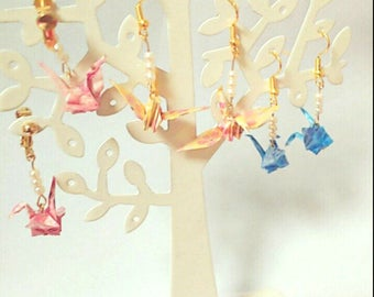 Japanese paper crane earrings