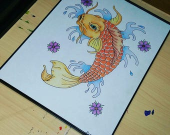 Coy Fish Colored Pencil Drawing
