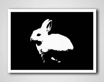 Rabbit Print, Black and White Pet Printables, Minimalist Nursery Poster, Babies Room Pet Printables, Printable Kids Room Nursery Poster