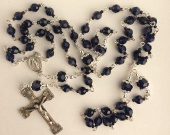 Swarovski Heirloom Dark Indigo Crystal and Sterling Silver Rosary - Free Shipping!