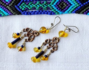 Amber from Mexico - Oriental earrings