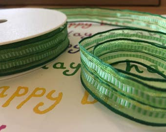 Green ribbon, wired, 15mm wide, by 1m length