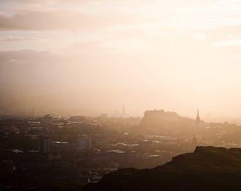Cityscape Photography Prints, Edinburgh Castle Scotland, Edinburgh in Storm