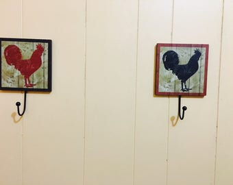 Country Rooster Decor Hooks