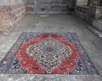 Unique Antique Wool Turkish Rug Free Shipping Floor Rug Anatolian Rug 6.3 x 7.1 feet Area Rug Large Rug Home Decor Floor Rug Aztec Boho Rug