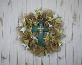 Free Shipping, Mother's Day Wreath, Birthday Gift, Gifts for Him, Cross Wreath, Religious, Christian, Door Decor, Door Wreath