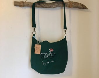 Hand embroidered canvas tote bag/cross body bag