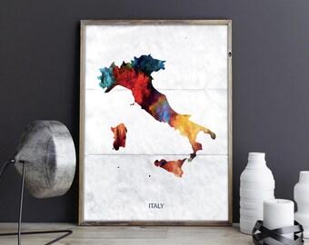 Italy Art Italy Wall Art Italy Wall Decor Italy Photo Italy Print Italy Poster Italy Map Country Map Watercolor Map Country Map Print