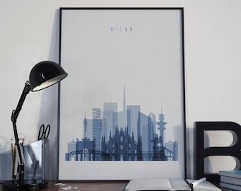 Milan Art Milan Watercolor Milan Multicolor Milan Wall Art Milan Wall Decor Milan Home Decor Milan City Milan Skyline Milan Print Italy Art