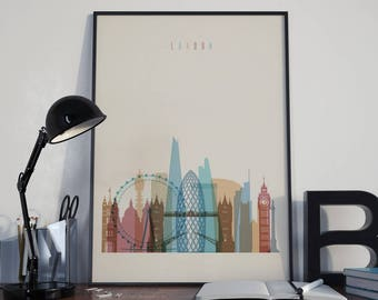 London Art London Watercolor London Multicolor London Wall Art London Wall Decor London Home Decor London City London Skyline London Print