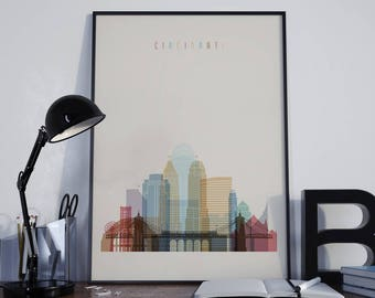 Cincinnati Art Watercolor Cincinnati Wall Art Cincinnati Poster Wall Decor  Cincinnati Print Home Decor Cincinnati Photo