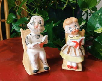 Grandmother + Grandfather Salt and Pepper Shakers, Vintage Kitchen Decor
