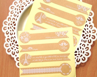 Set of 8 Kraft paper stickers/Eiffel tower stickers/Lollipop shape stickers/Gift box sticker/party favour