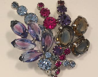 Vintage Coloured Glass Posy Brooch