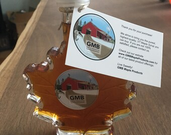 FALL FOLIAGE SALE! 100 ml Glass Maple Leaf - Vermont Maple Syrup