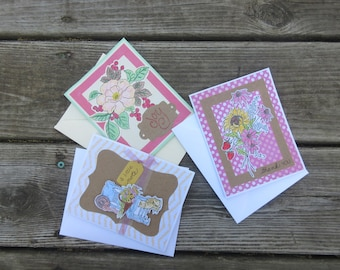 Set of 3 Thank you, Just a Note, and Friendship Handmade Greeting Cards