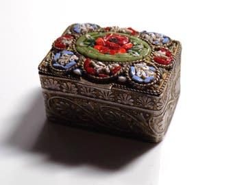 Italian mosaic trinket box souvenir