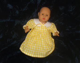 12 to 14 inch yellow check baby doll dress and bloomers