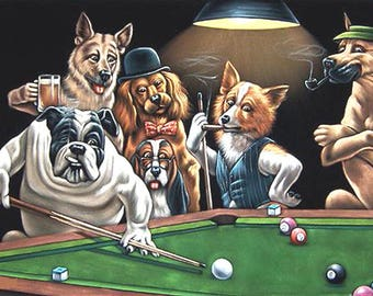 Dogs Playing Pool Cross Stitch Pattern***LOOK***