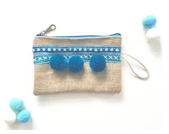 Baby blue, coin purse, pouch, Moroccan pom pom bag,