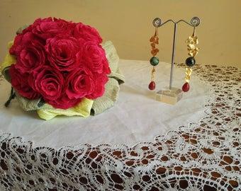 Earrings-Rubizoisite and agata
