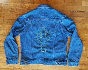Vintage Denim Jacket with Cactus on back - size S #093
