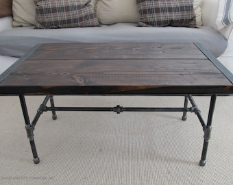 Reclaimed Wood Coffee Table,Industrial Wood Coffee Table,Coffee Table with pipe Legs